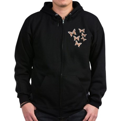 Orange Butterflies Zip Hoodie (dark)