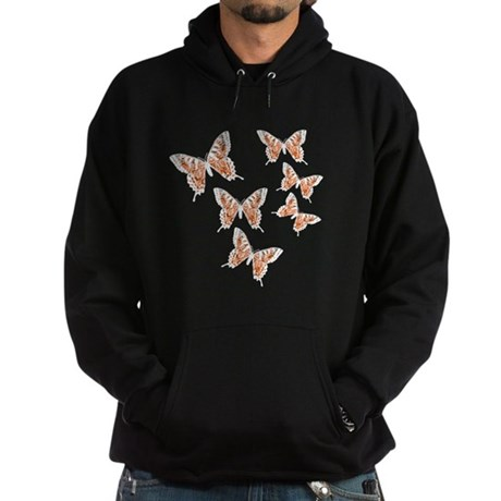 Orange Butterflies Hoodie (dark)