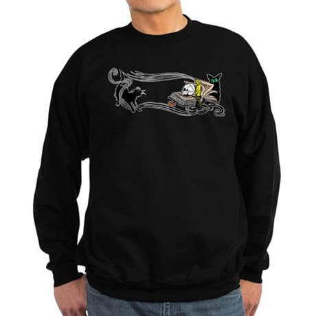 Spooky Black Cat and Skull Sweatshirt (dark)