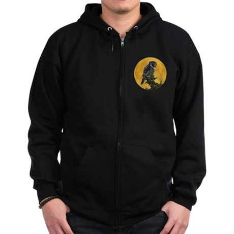 Owl and Moon Zip Hoodie (dark)