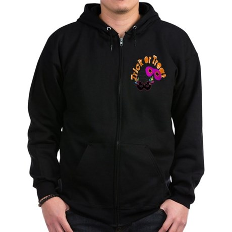 Trick or Treat Masks Zip Hoodie (dark)