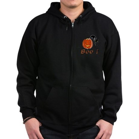 Halloween Pumpkin and Cat Zip Hoodie (dark)