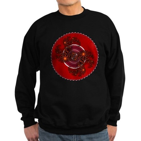Fractal Kaleidoscope Red Sweatshirt (dark)
