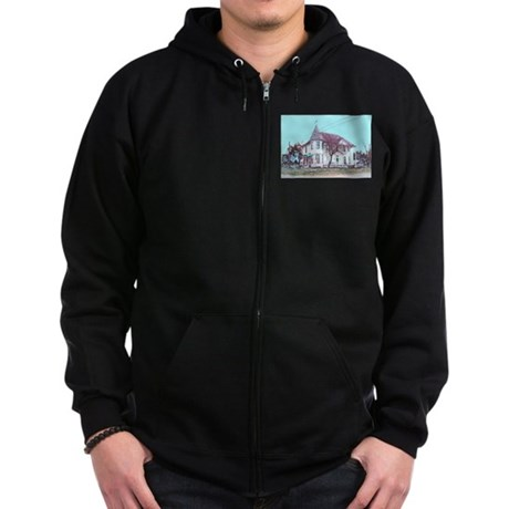 Old House on the Corner Zip Hoodie (dark)