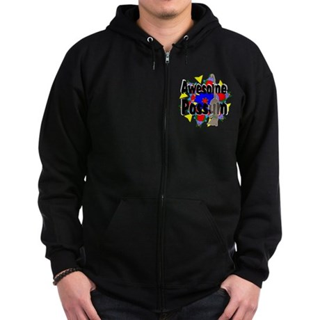 Awesome Possum Kaleidoscope Zip Hoodie (dark)