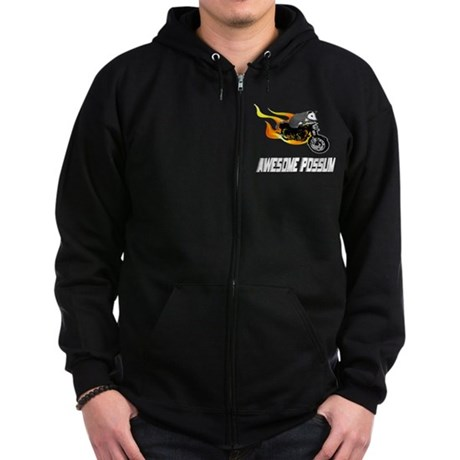 Flaming Awesome Possum Zip Hoodie (dark)