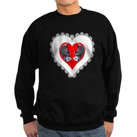 Opossum Valentines Day Heart Sweatshirt (dark)