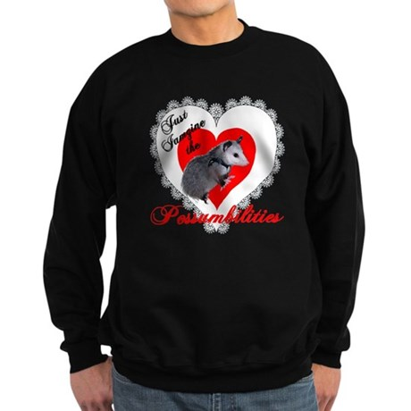Possum Valentines Day Heart Sweatshirt (dark)