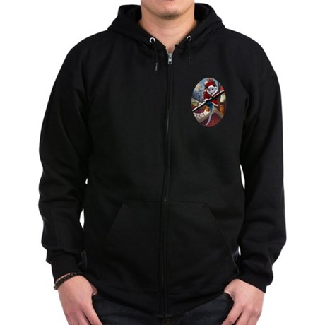 Possum Santa on Rooftop Zip Hoodie (dark)