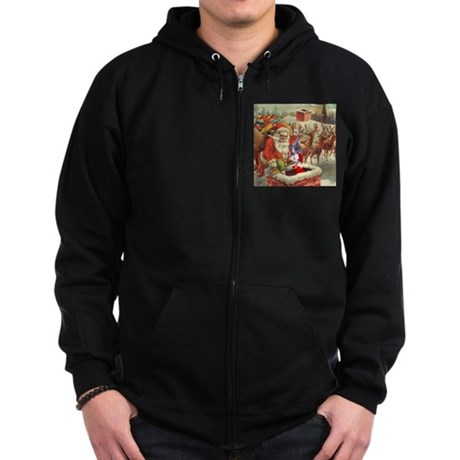 Santa's Helper Possum Zip Hoodie (dark)