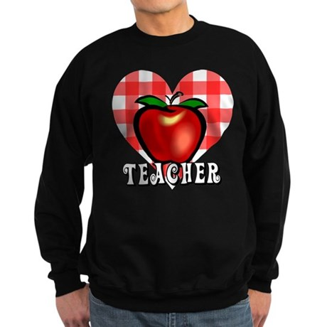 Teacher Checkered Heart Apple Sweatshirt (dark)