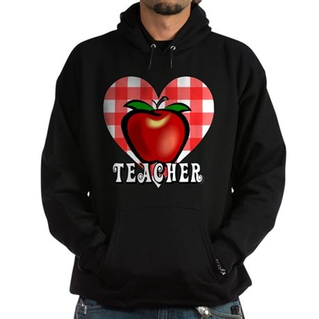 Teacher Checkered Heart Apple Hoodie (dark)