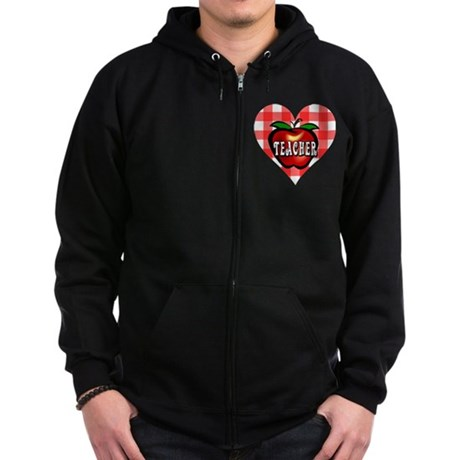Teacher Checkered Heart Apple Zip Hoodie (dark)
