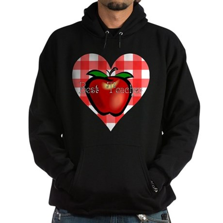 Best Teacher Checkered Heart Hoodie (dark)