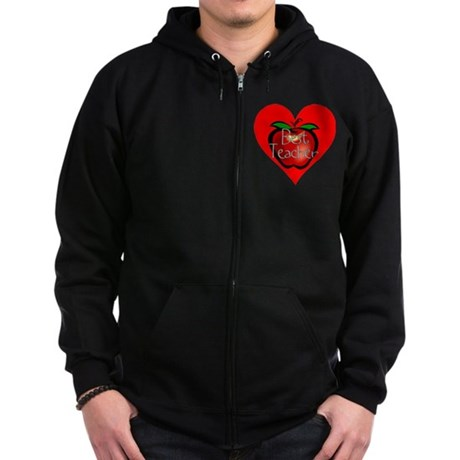 Best Teacher Apple Heart Zip Hoodie (dark)