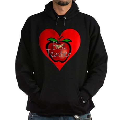 Best Teacher Apple Heart Hoodie (dark)
