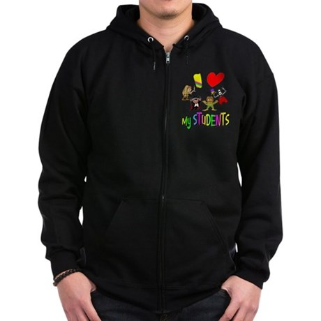 I Love My Students Zip Hoodie (dark)