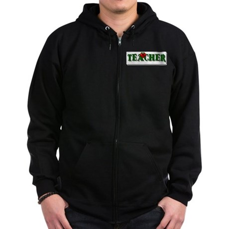 Teacher Apple Zip Hoodie (dark)
