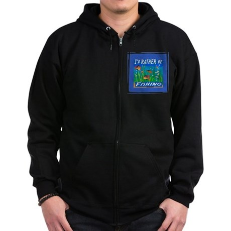 Rather be Fishing Zip Hoodie (dark)