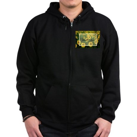 Sunflower Field Thank You Zip Hoodie (dark)
