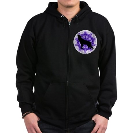 Purple Howling Wolf Zip Hoodie (dark)