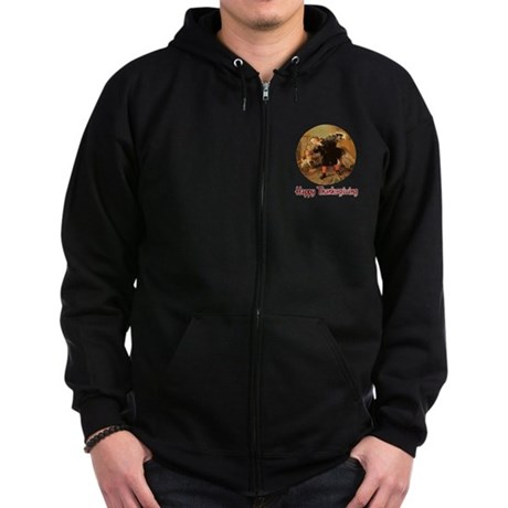 Boy and Thanksgiving Turkey Zip Hoodie (dark)