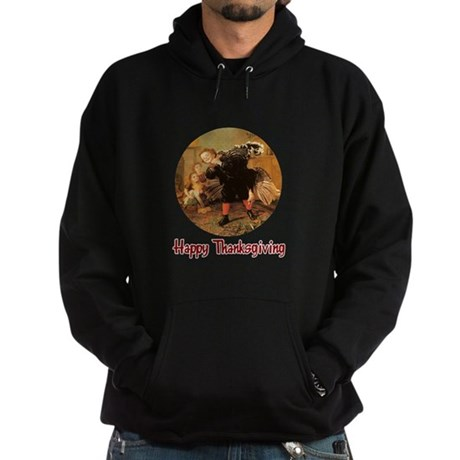 Boy and Thanksgiving Turkey Hoodie (dark)
