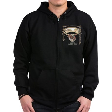 Turkey Day Zip Hoodie (dark)