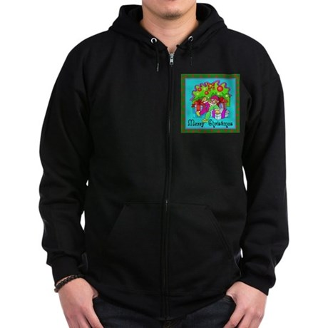 Merry Christmas Clown Zip Hoodie (dark)