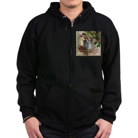 Vintage Christmas Card Zip Hoodie (dark)