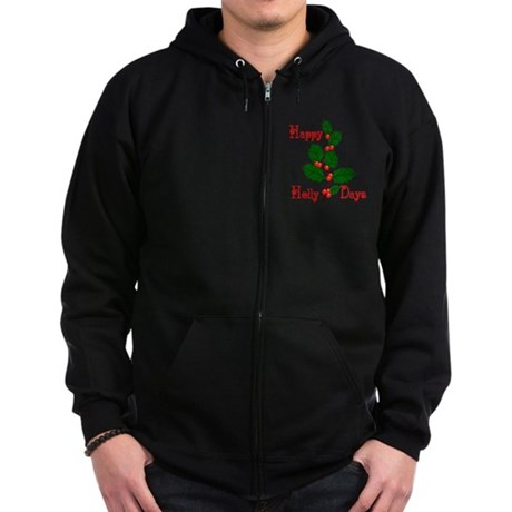 Happy Holly Days Zip Hoodie (dark)