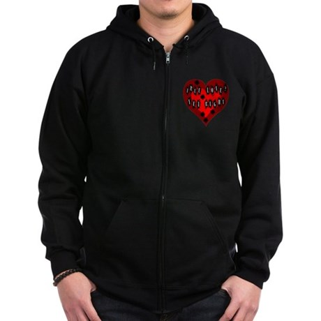 Holes in Heart Zip Hoodie (dark)