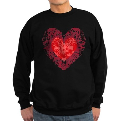 Red Grunge Heart Sweatshirt (dark)