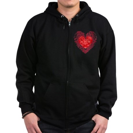 Red Grunge Heart Zip Hoodie (dark)