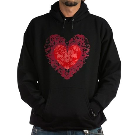 Red Grunge Heart Hoodie (dark)