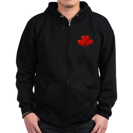 Three Hearts Zip Hoodie (dark)