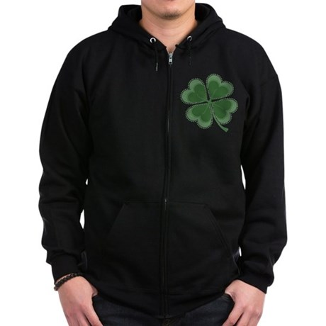Lucky Four Leaf Clover Zip Hoodie (dark)