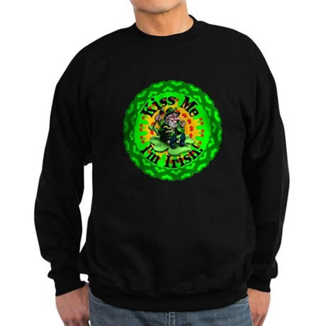 Kiss Me Irish Leprechaun Sweatshirt (dark)