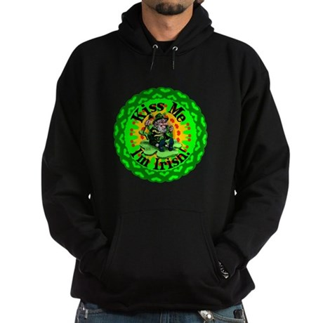 Kiss Me Irish Leprechaun Hoodie (dark)