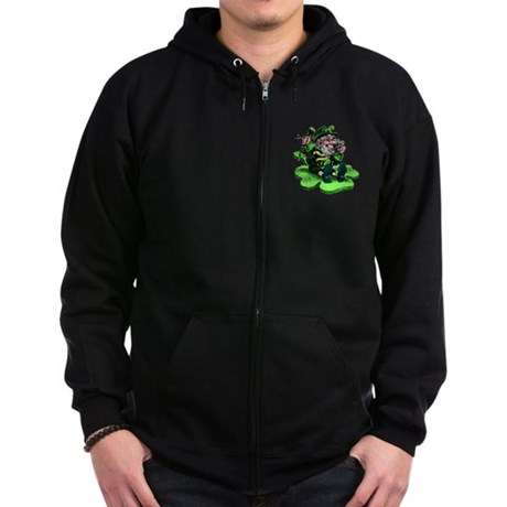 Leprechaun on Shamrock Zip Hoodie (dark)
