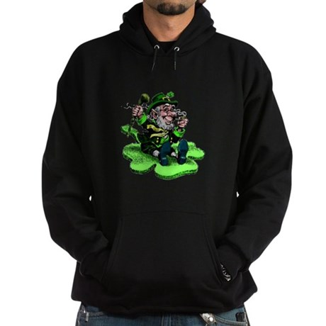 Leprechaun on Shamrock Hoodie (dark)