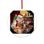 Santa and his Golden Retriever Ornament (Round)