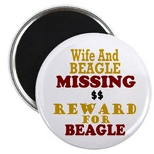 "Wife & Beagle Missing 2.25"" Magnet (10 pack)"
