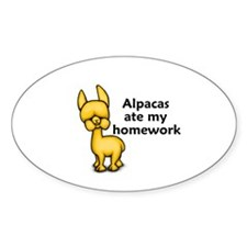 Alpacas ate my Homework Oval Decal