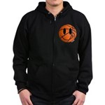 Basketball Smiley Zip Hoodie (dark)