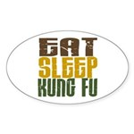 Eat Sleep Kung Fu Oval Sticker