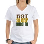 Eat Sleep Kung Fu Women's V-Neck T-Shirt