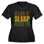Eat Sleep Kung Fu Women's Plus Size V-Neck Dark T-
