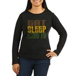 Eat Sleep Kung Fu Women's Long Sleeve Dark T-Shirt