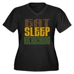 Eat Sleep Kickboxing Women's Plus Size V-Neck Dark